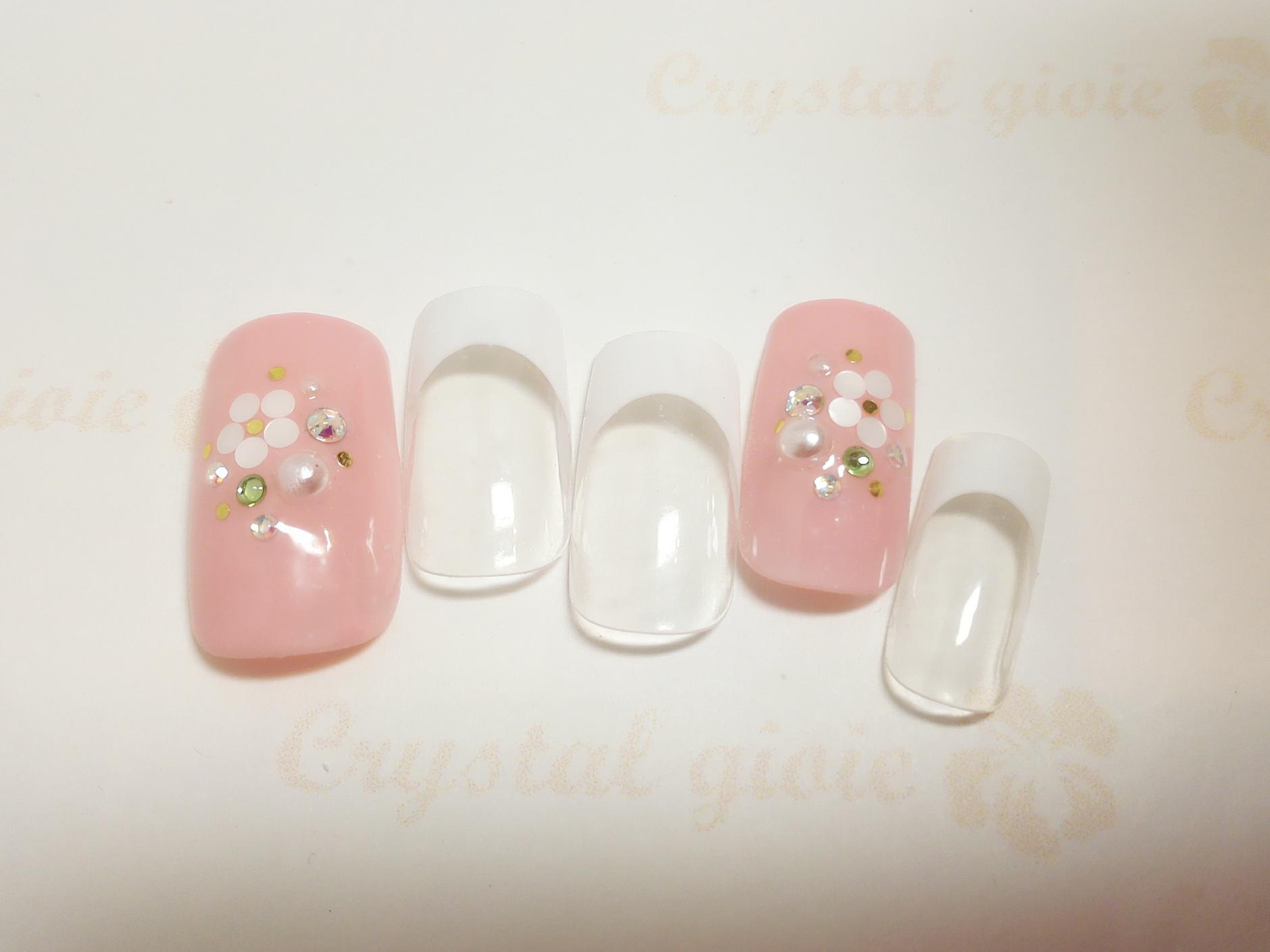 白フレンチ×ピンク ホロ花